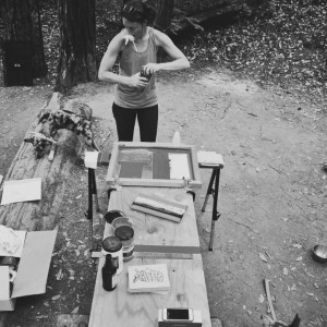 Screenprint, camping, dogs, nature, sunski
